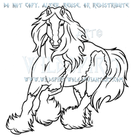 Running Gypsy Vanner Lineart Commission by WildSpiritWolf