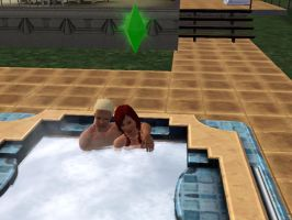 SIMS 3: Cuddle in the Hot Tub by Aubergine-Jeri