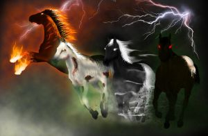 Four Horses of the Apocalypse by brandenhead
