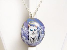 Angora Cat Pendant Necklace by sobeyondthis