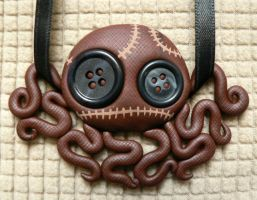 Brown Stitchpunk Octopus Doll Necklace by BlackMagdalena