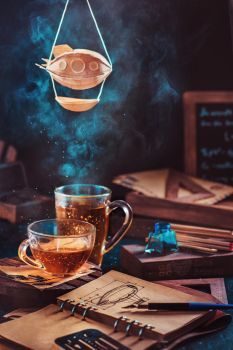 Steampunk tea (with a blimp) by dinabelenko