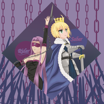 [Expocomics/Fanart] Rider and Saber by Nerissy
