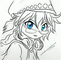 [VOCALOID] Kagamine Len sketch (lineart) by HunterK