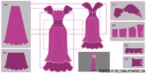 Princess Bubblegum Plum Dress Cosplay Design Draft by Hollitaima
