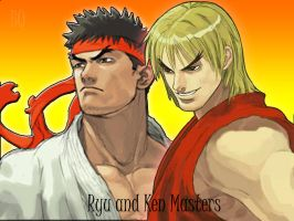 Ryu and Ken Masters by Bisquikk