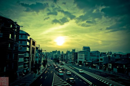 City Life in Kyoto with Sunset by Fujisama1999
