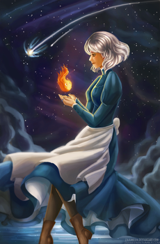 Howls Moving Castle - Sophie and Calcifer by zaameen
