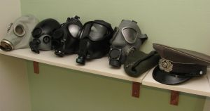 Row of Gasmasks by Nirwrath