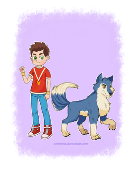 Boy with Wolf by voltronia