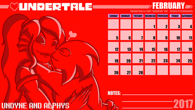 2017 Calendar - Undyne and Alphys - February by EliHedgie95