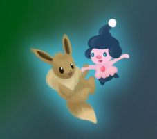 Eevee and Mime Jr. by Emesbury1397
