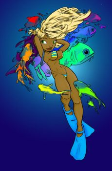 Scuba Girl by SimulatedViolet