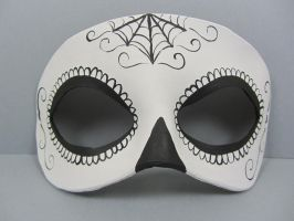 Day of the dead black and white spider web mask by maskedzone