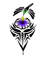 Tribal Humming bird and flower by Ultralee0