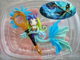 Nami the Tidecaller League of legends pendant OOAK by DarkettinaMarienne
