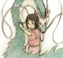 Chihiro and Haku by sketchinthoughts