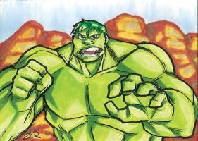 Hulk Sketch Card by ibroussardart