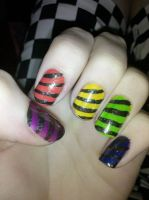 Rainbow Stripe Nails by Chelseapoops