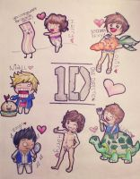 One Direction Chibis by oORoseyOo