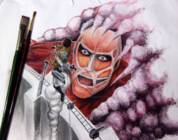 Attack on Titan handpainted t-shirt preview by SpeedyHaley