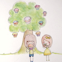Cupcake tree and some tea by LL0ND0N