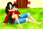 Luffy + Robin Hug Color by xox1melly1xox