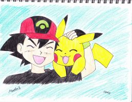 ash and pikachu by MarleneUrameshi