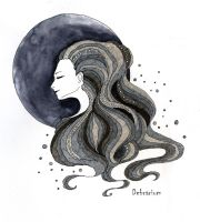 the moon by Debrarium