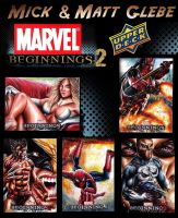 Marvel Beginnings 2 Sketch Cards by Twynsunz
