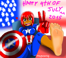 Happy 4th Of July And Captain Amy Showing Her Sole by amyroseater
