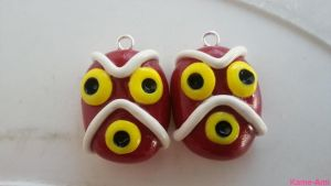 Princess Mononokes' Mask Earrings by Kame-ami