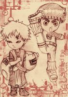 Gaara vs. Rock Lee - Art Trade by Isay