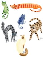 Watercolour cats by liselotte-eriksson