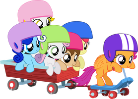 Scootaloo pulling the wagon by Pilot231