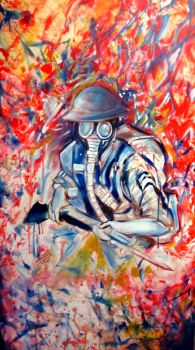 ww1 gasmask soldier by davidgrice