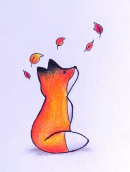 fox and leaves by Lunipae