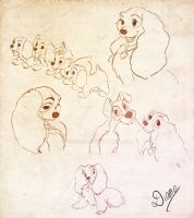 Lady and the Tramp quicksketchs by DianeAz