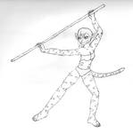 17-Minute Sketch: Staff Tiger-Gal by IceWulf77