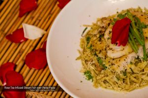 Rose tea Fish with Pesto Pasta by Foodtrip