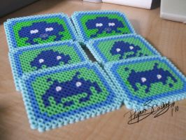 Space Invaders Bead Coasters by Phynix