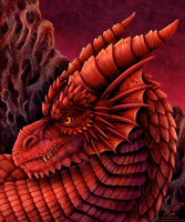 Red Dragon Portrait by DragonosX