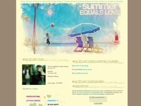 Summer is Love: MySpace Layout by ribcages