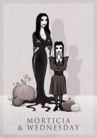 Morticia and Wednesday by ThePea
