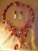 Tropical Red Necklace and Earrings by Galuorwen