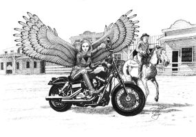 Biker Angel in Wild West by adalheidis