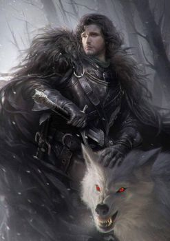 Jon Snow and Ghost ~ Game of Thrones Fan Art by rickypierce