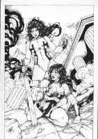 WONDER WOMAN e SHE HULK. by Leomatos2014