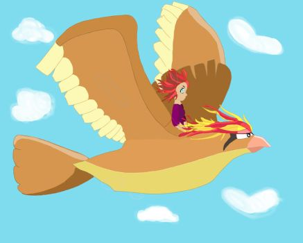 Flying on a pidgeot! by Pikipecks