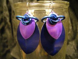 scale earrings blue and purple by BacktoEarthCreations